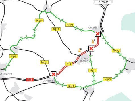 Groot onderhoud N18  tussen Groenlo en Varsseveld